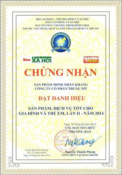 """Giấy chứng nhận TPCN Minh Nhãn Khang vinh dự đón nhận """"Top 100 sản phẩm tốt cho gia đình, trẻ em""""năm 2014"""